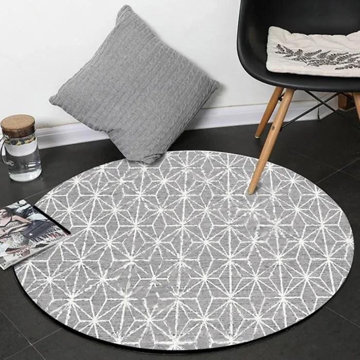 tapis rond geometrique abstrait f80cm