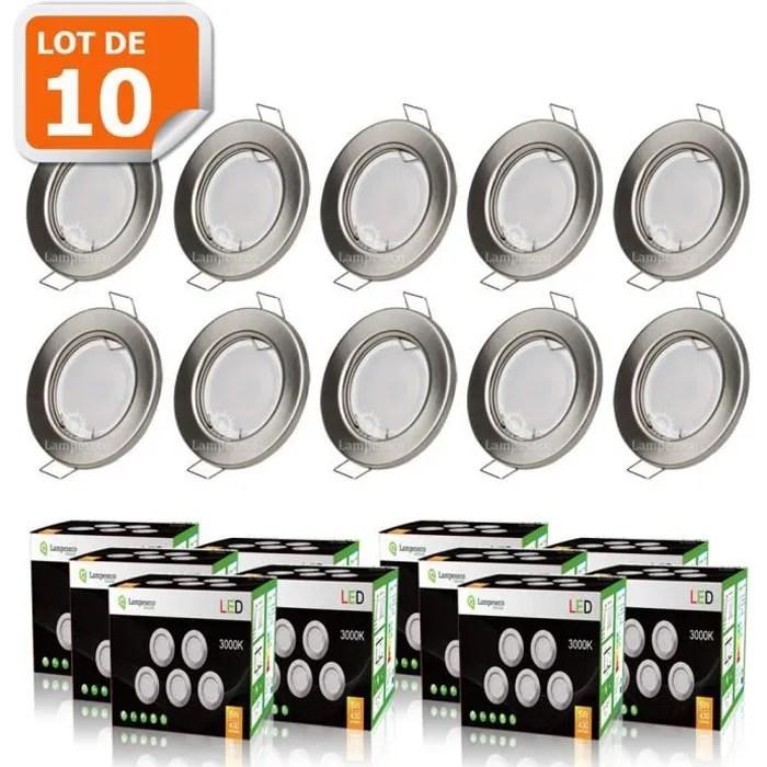 Lot De 10 Spot Led Encastrable Complete Ronde Fixe Alu Brosse Eq 50w Blanc Chaud Achat Vente 10x Spot Encastrable Led Fi Cdiscount