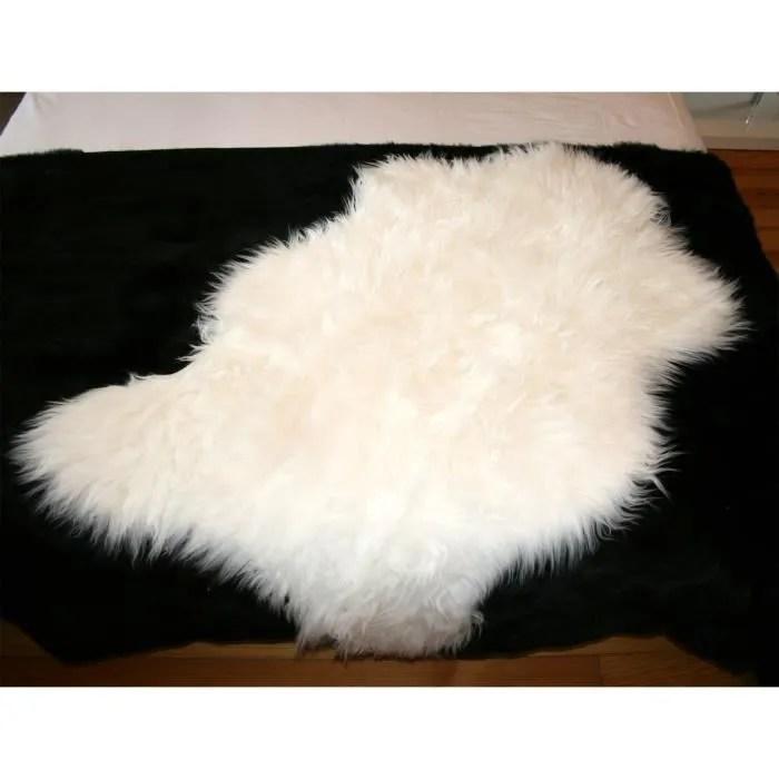 tapis en peau de mouton synthetique blanc 110