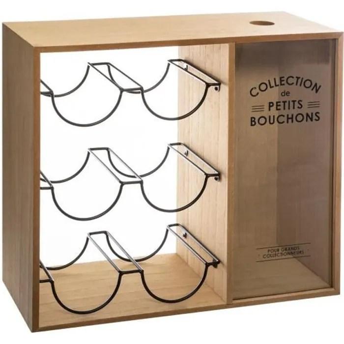 atmosphera casier a bouteilles en bois et metal 40 x 15 x h 35 cm collection vintage loft