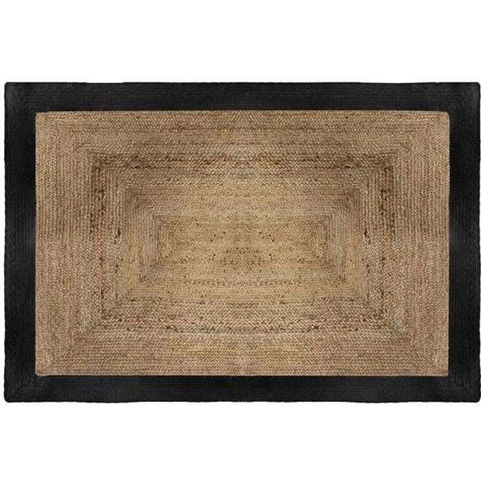 tapis rectangle en jute 120x170 cm noir 120 x 170
