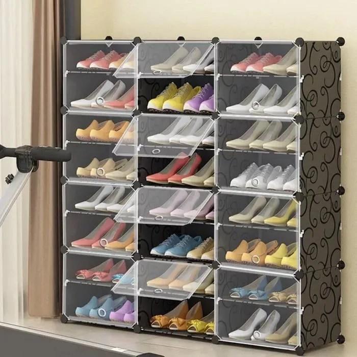 armoire a chaussures meuble a chaussures etagere avec 12 portes plastique facile a monter etagere de rangement pratique