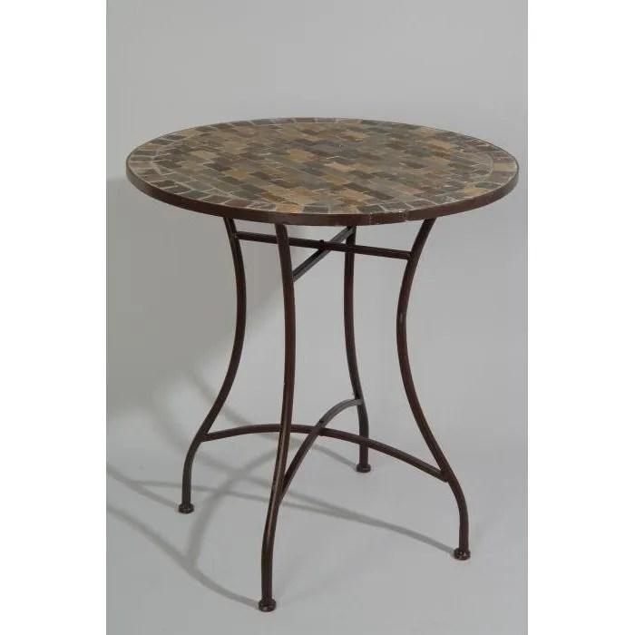 table ronde de jardin en fer forge avec mosaique