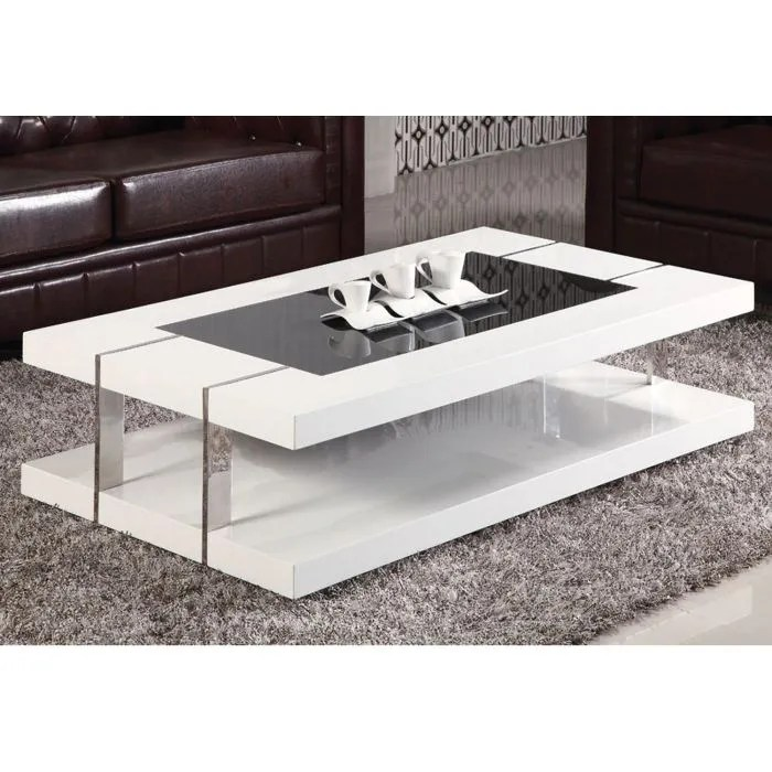 table basse design laque blanc verre