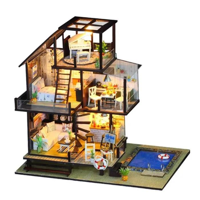 kit miniature de maison de poupee en bois bricolage avec meubles et lumiere pour enfants style cadeau 2