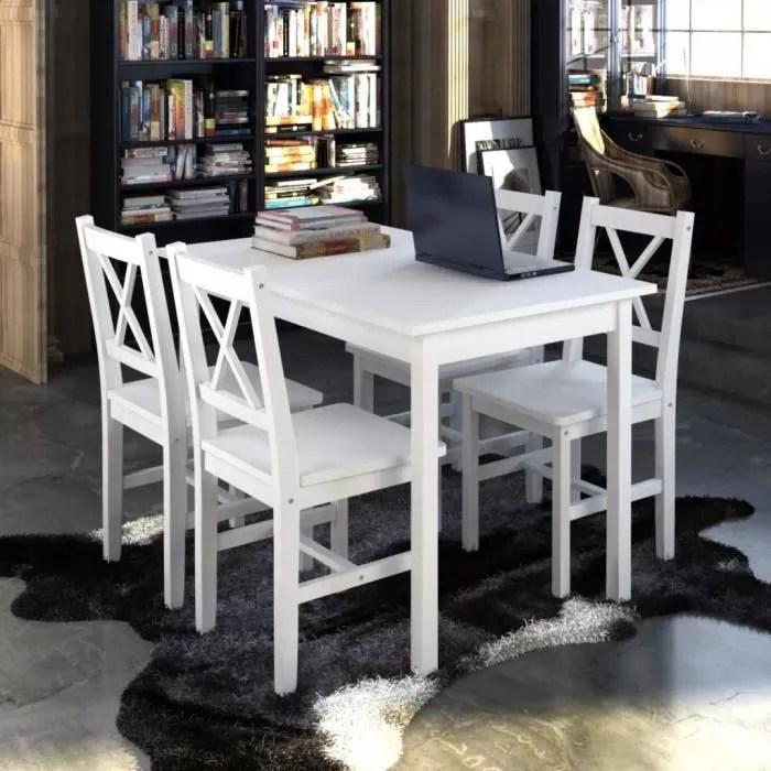 set table cuisine avec 4 chaise en bois blanc meubles
