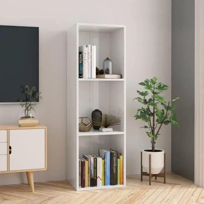 bibliotheque meuble tv blanc brillant 36x30x114 cm