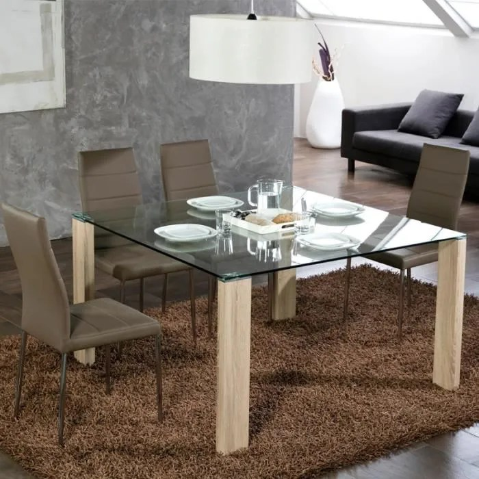 table de repas carree pieds bois grissam l 130