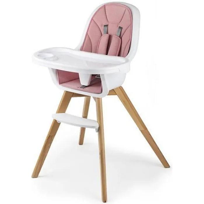 kinderkraft tixi chaise haute bebe 2en1 evolutive de 6 mois a 5 ans rose