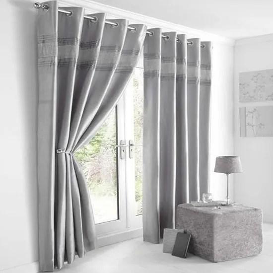 opulence paire de rideaux doubles bordure aspect diamants accroche oeillets gris argente l 229 x l 229 cm