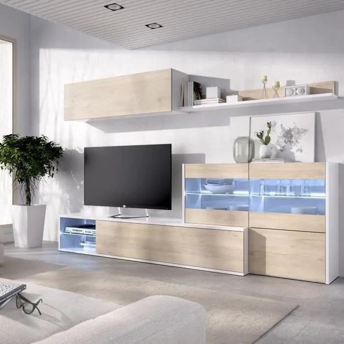 ensemble meuble sejour living avec vitrine led decor chene et blanc l 260 x p 41 x h 180 cm uma