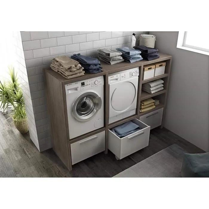 dafnedesign com meuble a linge porte machine a laver et porte seche linge avec chariots et paniers a linge taille h 143 l 2