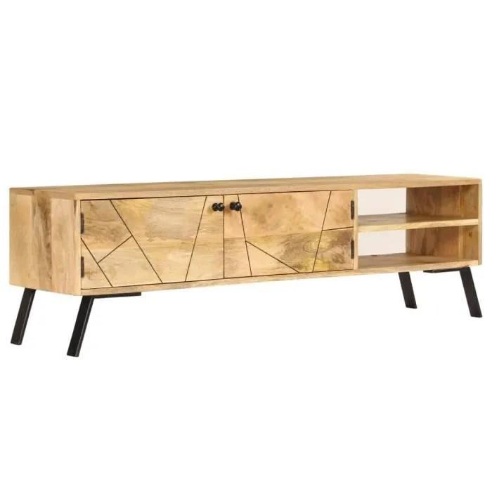 luxueux meuble tv bois de manguier massif 140 x 30