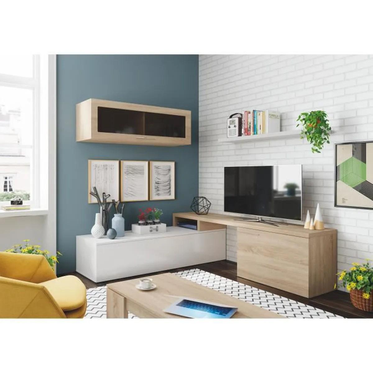 ensemble meuble tv bois et blanc