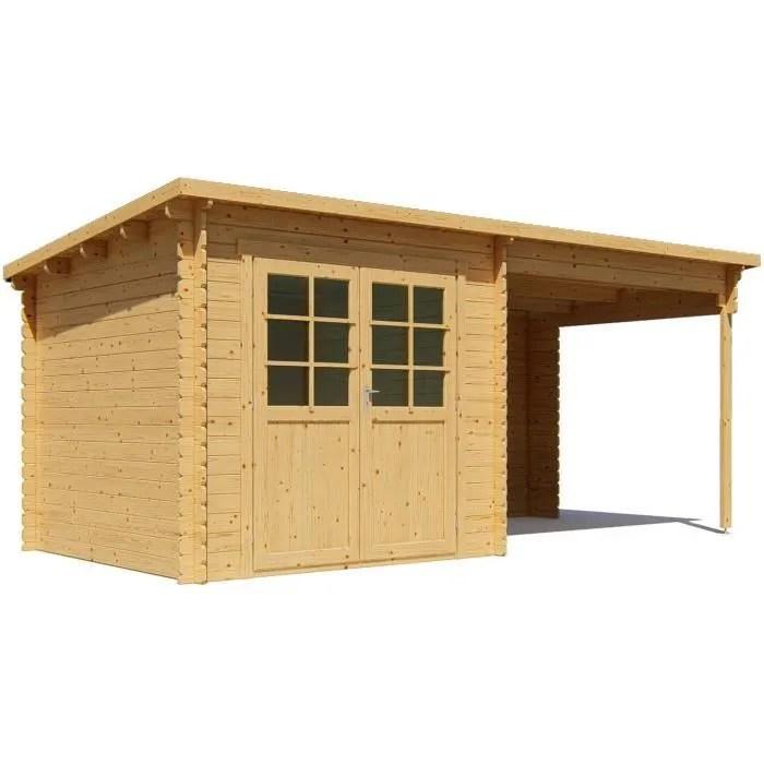 abri de jardin en bois 28mm avec appenti 498x248 cm 6 15m toit plat