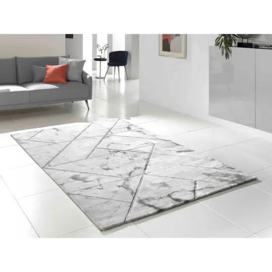marble grand tapis de salon style marbre et joints gris acier 200 x 290 cm