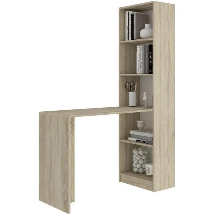 merak bureau reversible avec bibliotheque bureau salon 125x180x50cm meuble rangement gain de place bureau compacte sonoma