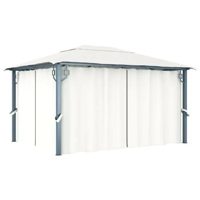 tonnelle avec rideau 400x300 cm creme aluminium