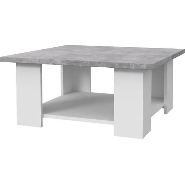 pilvi table basse blanc et beton gris clair l 90 x p 90 x h 31 cm