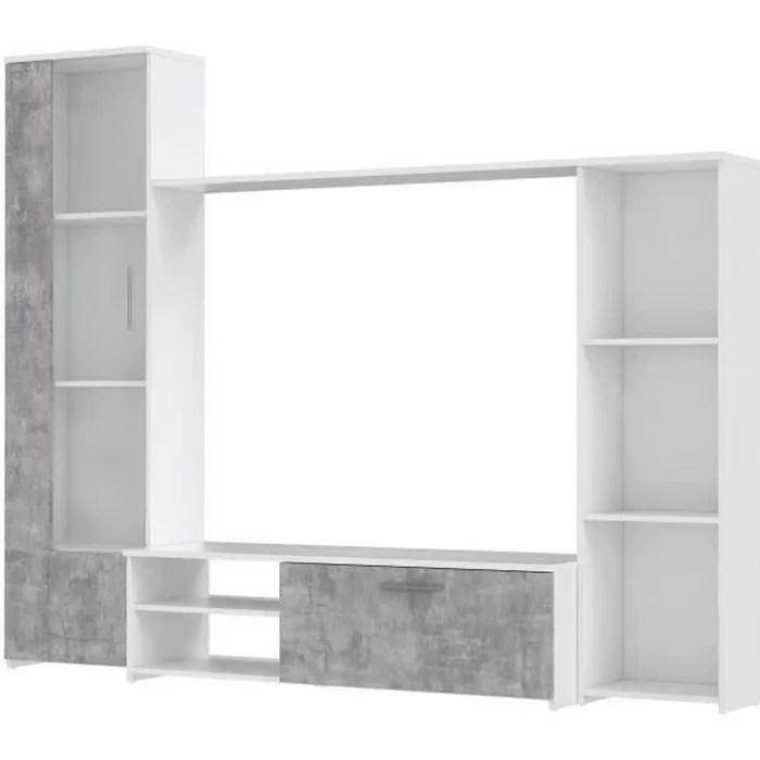 meuble tv blanc mat beton gris clair l 220 4 x