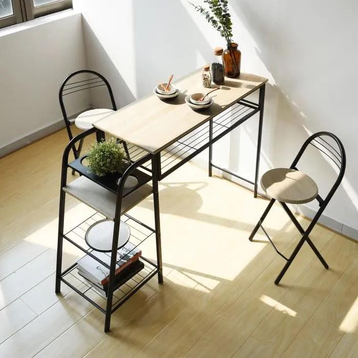 ensemble table a manger 1 table et 2 chaises style scandinave ensemble de table et tabourets chene140 40 88 5cm