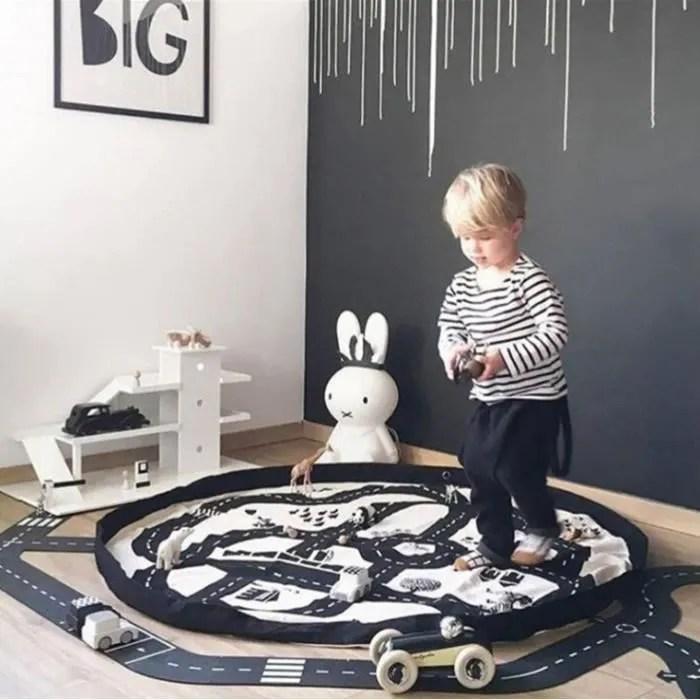 tapis de jeu rond pour enfant sac de rangement po