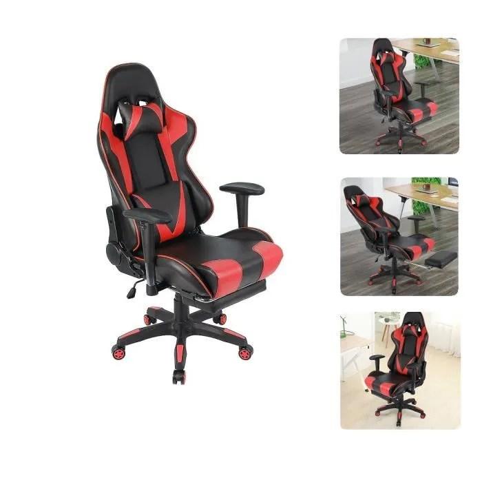 chaise gamer fauteuil de bureau inclinable 150 hauteur reglable noir et rouge
