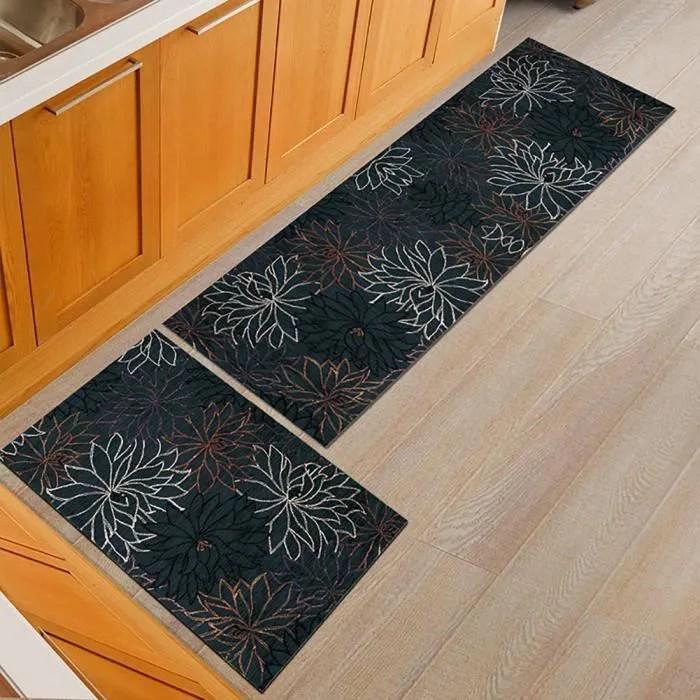 2pcs tapis de cuisine long et court absorbant l ea