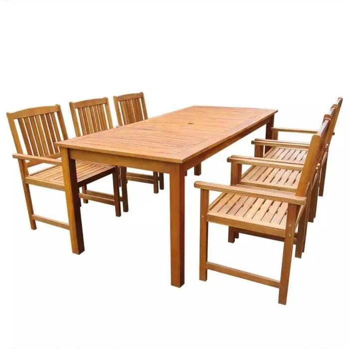 meuble de jardin 7 pcs bois d acacia massif marron