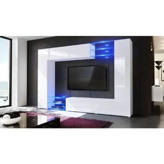 meuble tv murale blanc 260 cm avec led