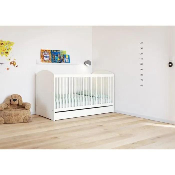 tromso lit bebe evolutif avec tiroir 70x140 cm laque blanc