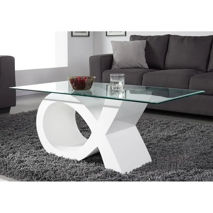 table basse en verre contemporain laque