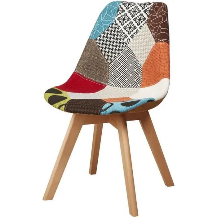 martins chaise en tissu patchwork bleu pieds en bois naturel scandinave l 51 x p 57 cm