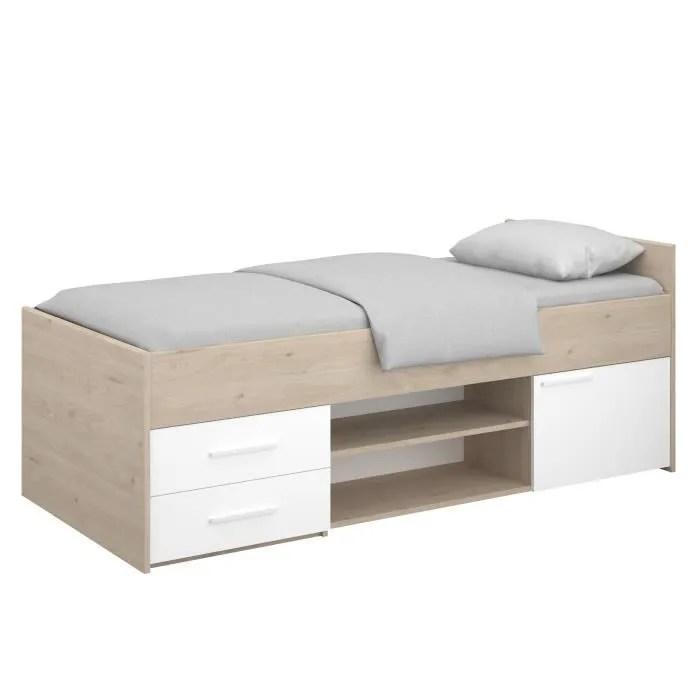 liam lit enfant avec rangement decor chene jackson et blanc l204 cm x l95 x h79 cm