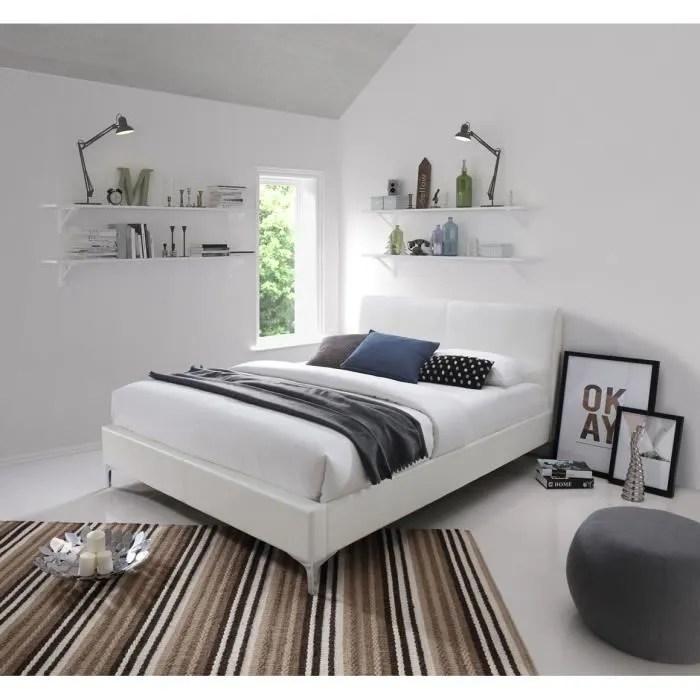 lit lacey 140x200 avec sommier blanc