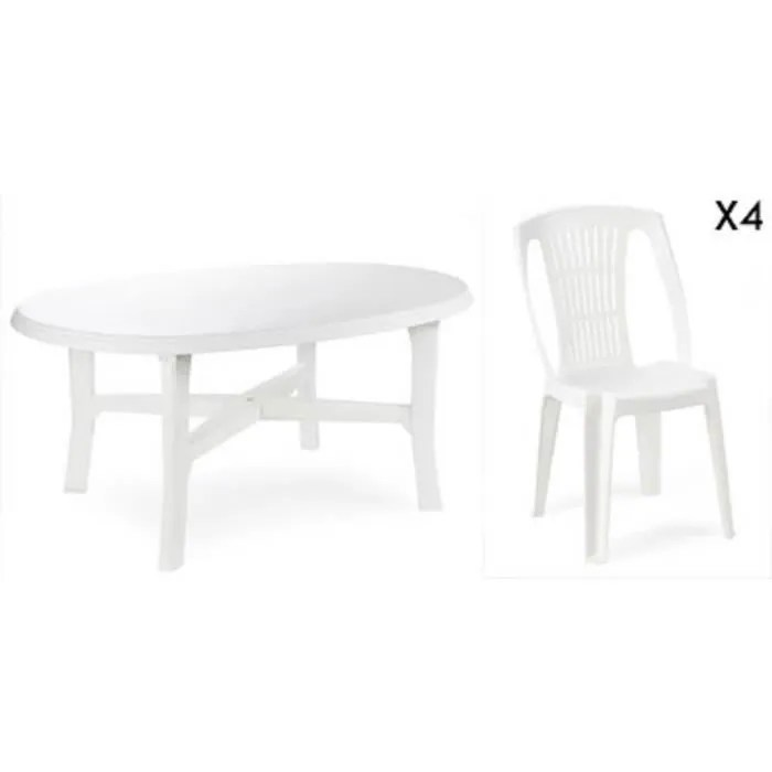 table ovale blanche 6 chaises jardin