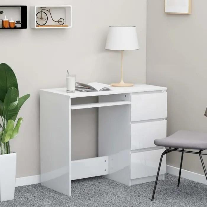 bureau pour enfant ou adulte bureau informatique table d ordinateur blanc brillant 90x45x76 cm agglomere