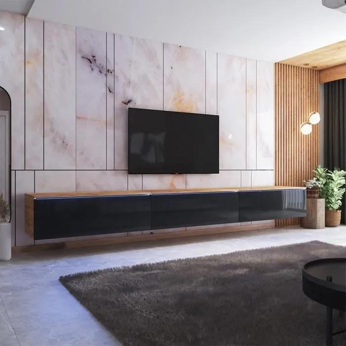 meuble tv skylara 300 cm chene