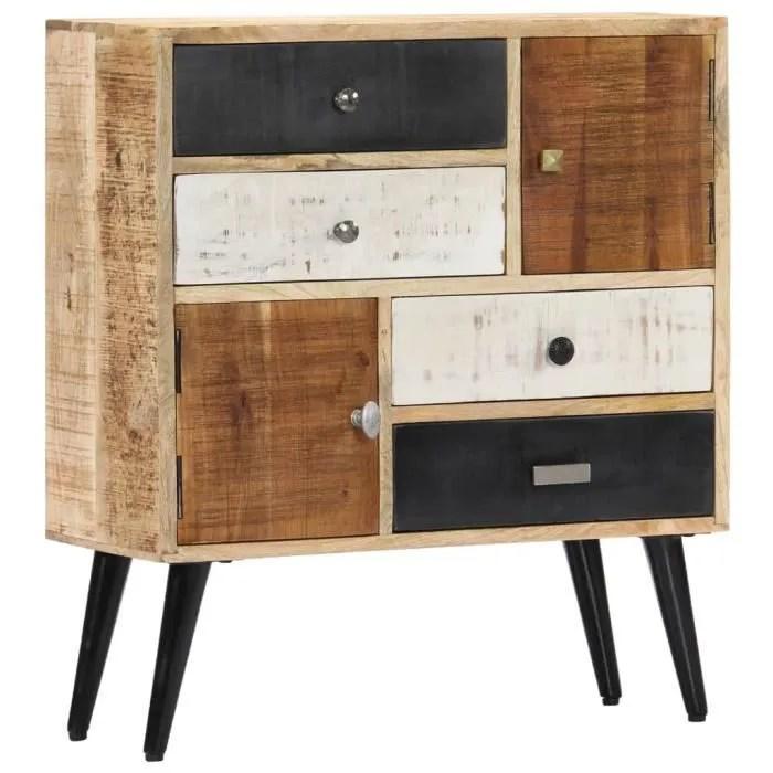 buffet contemporain moderne meuble bas rangement70 x 30 x 78 cm bois de manguier massif