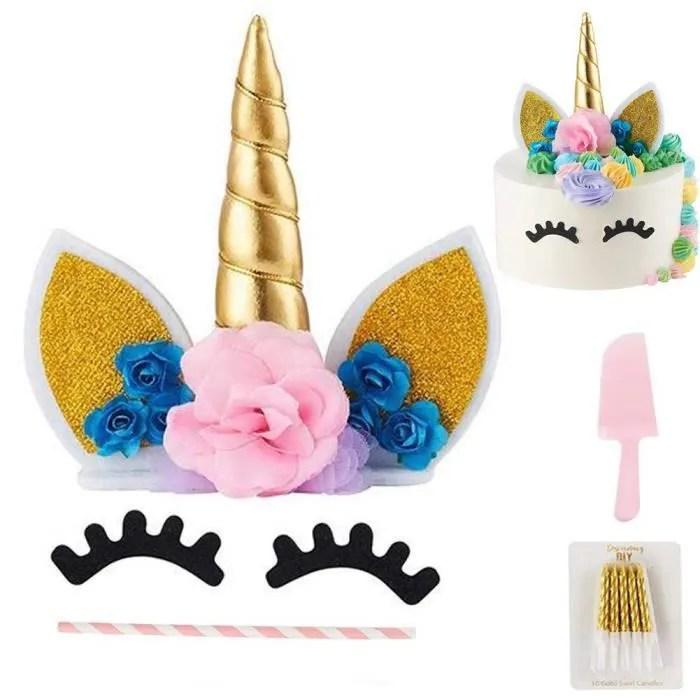 blesser cake topper decoration gateau licorne pour mariage anniversaire baby shower fete diy kit decoration gateau a