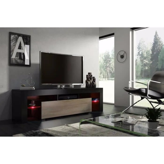 meuble tv 160 cm noir mat et chene avec led