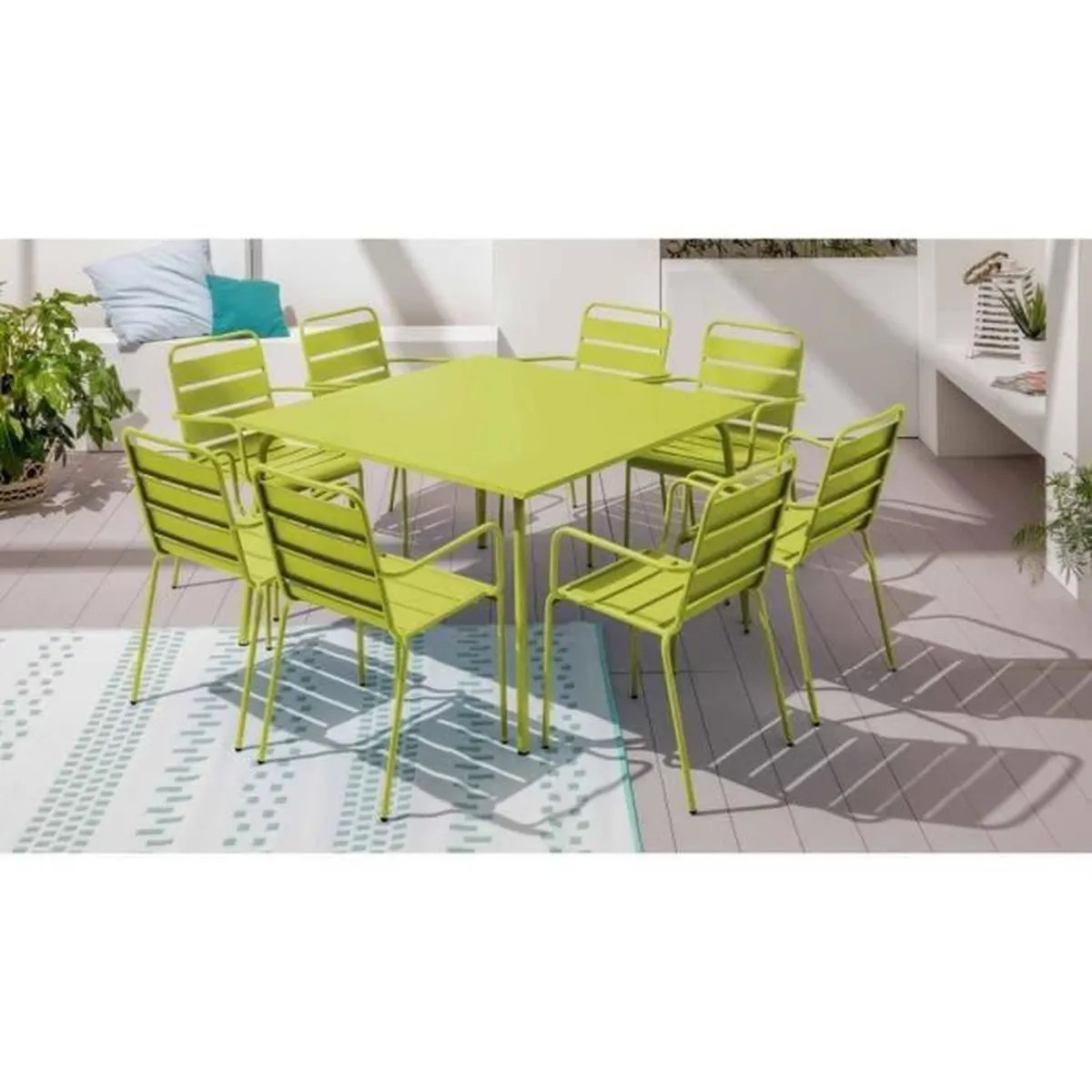 table de jardin carree en metal 120 cm