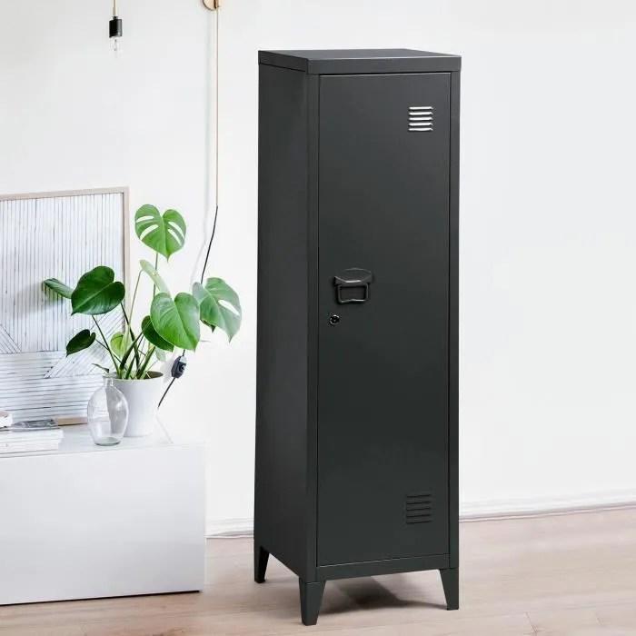 meuble de rangement en metal armoire de bureau metal a casiers verrouillables cabinet noir