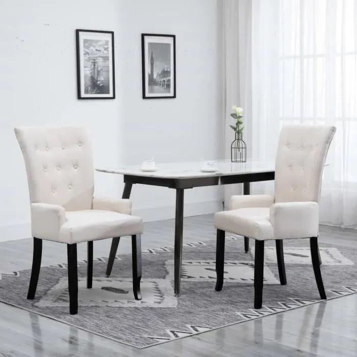 moderne chaise de salle a manger avec accoudoirs beige tissu