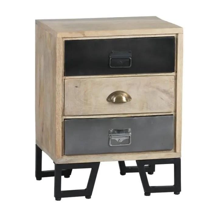 table de chevet 3 tiroirs bois metal supply l 45 x l 33 x h 56 cm