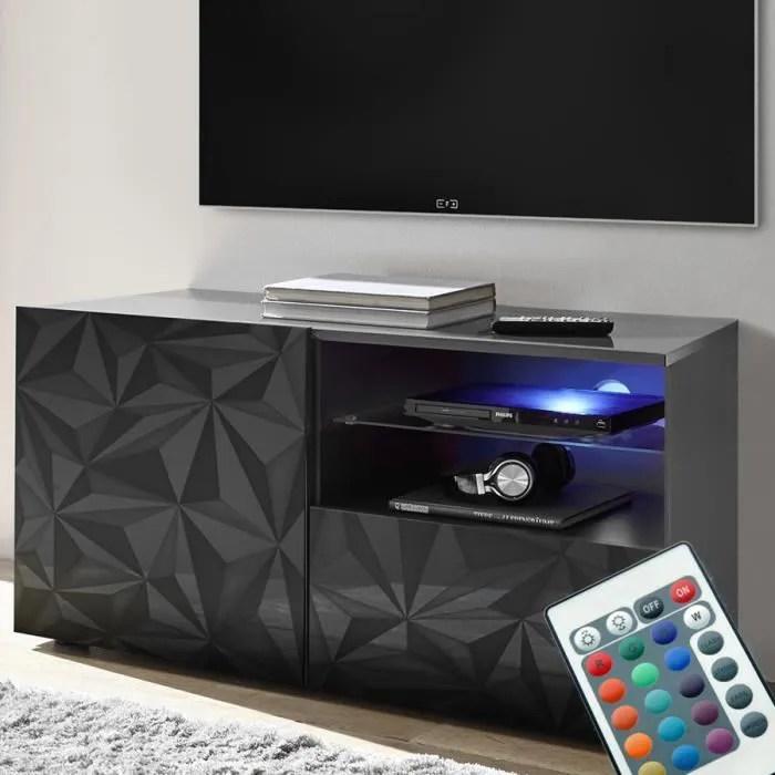 meuble tele led 120 cm gris laque design antonio 3