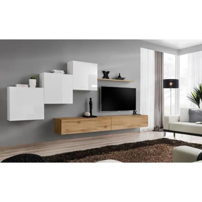ensemble meuble salon mural switch x design coloris chene wotan et blanc brillant 40 marron