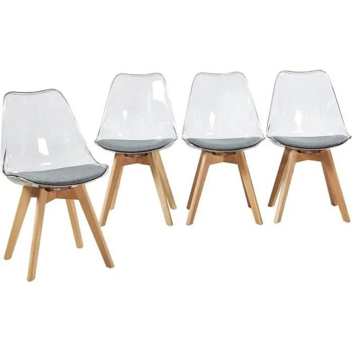 h j wedoo lot de 4 chaise transparente scandinave pour salle a manger