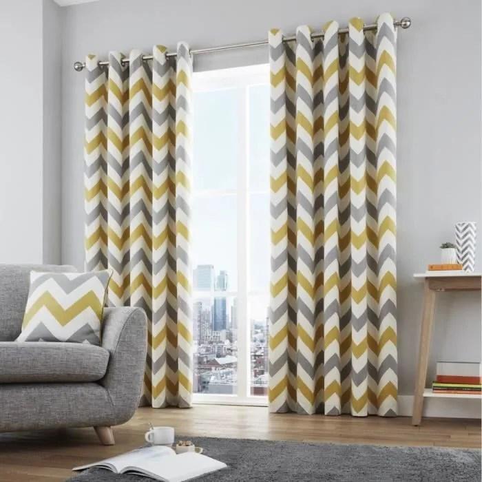 rideaux doubles a œillets coton imprime a motif