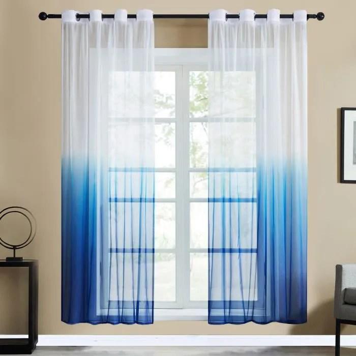 2pcs rideaux voilage noel 140x260cm bleu en degr